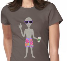 Awkward Alien Hipster With Coffee Womens Fitted T-Shirt
