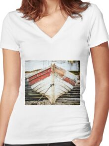 Fishing Boat Women's Fitted V-Neck T-Shirt