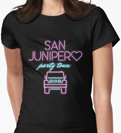 San Junipero Jeep Neon Black Mirror Womens Fitted T-Shirt