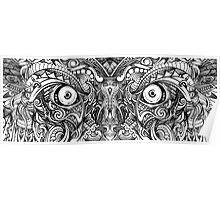 Raw Rough Mean Angry Evil Eyes Sharp Detailed Hand Drawn Poster