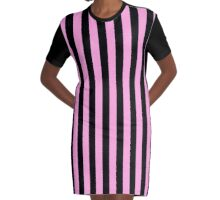 Stripes Pink Black Graphic T-Shirt Dress