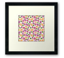 Trendy Purple Pink Green and Orange Floral Pattern Framed Print