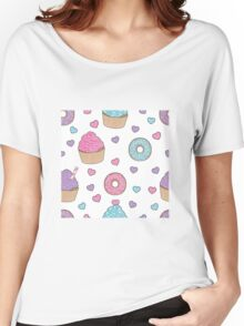 Doughnuts, donuts and cupcakes pattern Women's Relaxed Fit T-Shirt