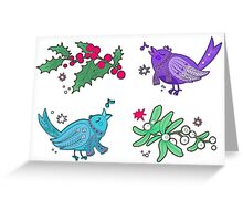 Berry, birds and mistletoe Greeting Card