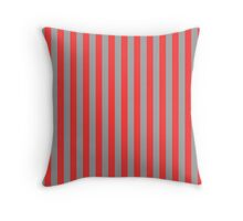 Stripes Red Grey Throw Pillow