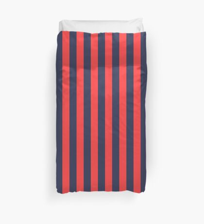 Stripes Red Navy Duvet Cover