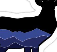 Deer Graphic- Black, Mountains Sticker