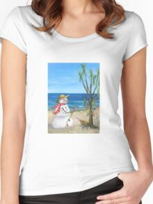 New Zealand Christmas, Snowman and kiwi Women's Fitted Scoop T-Shirt