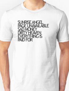 Sunrise Angel Lyrics Black T-Shirt