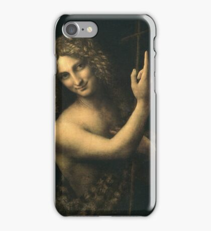 Leonardo Da Vinci - St. John The Baptist. Man portrait: strong man, boy, male, smile,  italian, masculine, boyfriend, smile, florence, sexy men, mustache iPhone Case/Skin