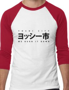 YOSHI市 Black Men's Baseball ¾ T-Shirt
