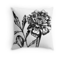 Black and White Marigold Flower Drawing Throw Pillow