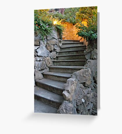 Stone Steps At Dusk Greeting Card