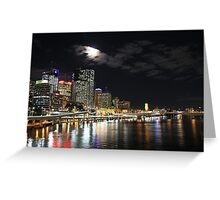 Full Moon over Brisbane, by Night. Greeting Card