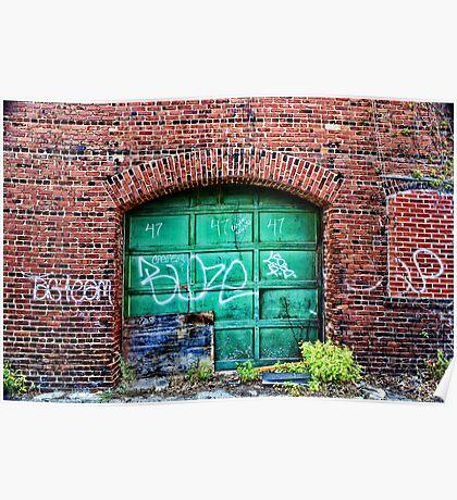 Green Garage Door Poster