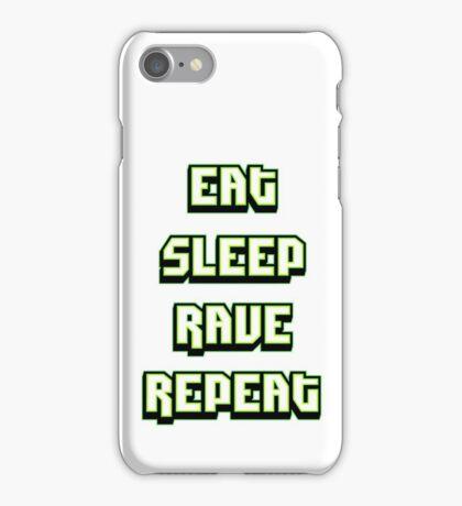 Eat Sleep Rave Repeat - Neon Green iPhone Case/Skin