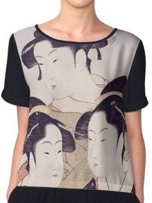 Kitagawa Utamaro - Three Beauties Of The Present Day. Woman portrait: sensual geisha, female style, traditional dress, femine, beautiful dress, headdress,  hairstyle, courtesans, sexy lady Chiffon Top