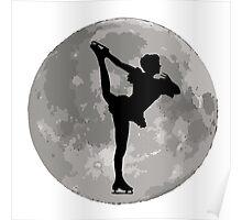 Figure Skate Moon Poster