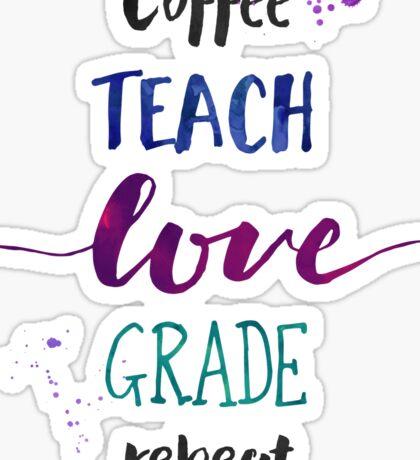 Coffee Teach Love Grade Repeat - Cool Hues Sticker