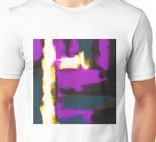 white pink and blue painting texture abstract with black background Unisex T-Shirt