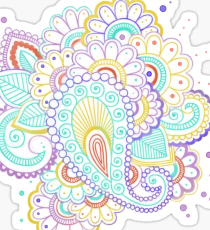 Watercolor Floral and Paisley Henna  Sticker