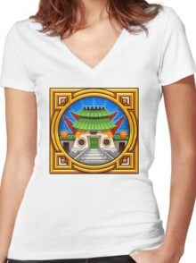 Chinese Temple Women's Fitted V-Neck T-Shirt