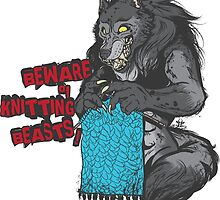 Beware of Knitting Beasts - light fabric by Bettina-Jeannette  Bierwirth