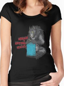 Beware of Knitting Beasts - light fabric Women's Fitted Scoop T-Shirt