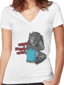 Beware of Knitting Beasts - light fabric Women's Fitted V-Neck T-Shirt