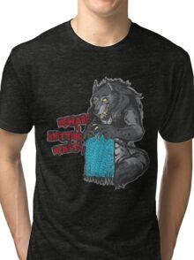 Beware of Knitting Beasts - dark fabric Tri-blend T-Shirt
