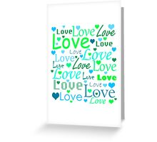 Love pattern - green and blue Greeting Card