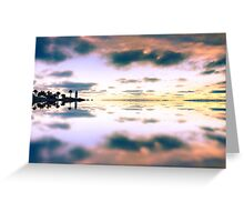 reflection of the cloudy sunset sky and ocean view Greeting Card