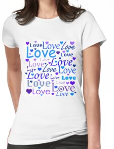 Love pattern - blue Womens Fitted T-Shirt