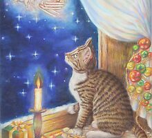 Christmas Art - Cat waiting for Santa by AlessandraArt