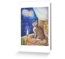 Christmas Art - Cat waiting for Santa Greeting Card