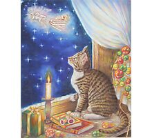 Christmas Art - Cat waiting for Santa Photographic Print