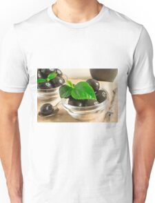 Brown pickled olives in a transparent cups Unisex T-Shirt