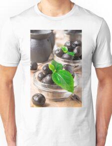 Black marinated olives on wooden background Unisex T-Shirt
