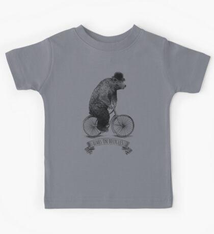 Bears on Bicycles (lime option) Kids Tee