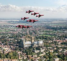 Red Arrows over Lincoln by Gary Eason + Flight Artworks