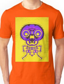 purple and pink bone structure and skull with yellow background Unisex T-Shirt