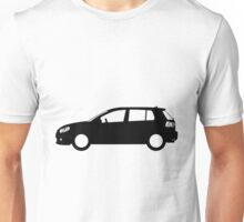 VW Golf MK6 Side Blueprint Full Black Unisex T-Shirt