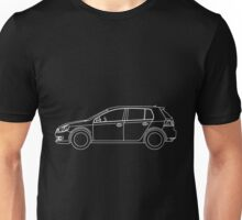 VW Golf MK6 Side Blueprint White Lines Unisex T-Shirt