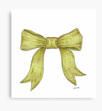 Green Ribbon Bow Canvas Print