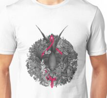 Bird and blossoms | black and grey Unisex T-Shirt