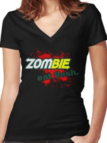 Zombie - Eat Flesh Women's Fitted V-Neck T-Shirt