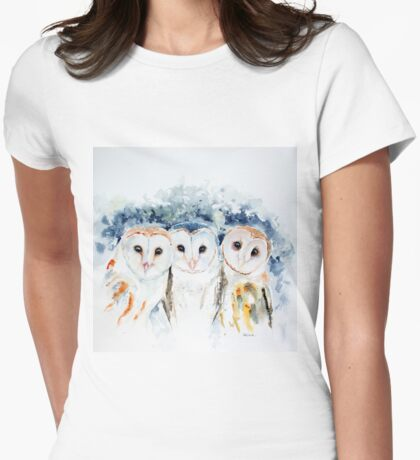 Barn Owls Womens Fitted T-Shirt
