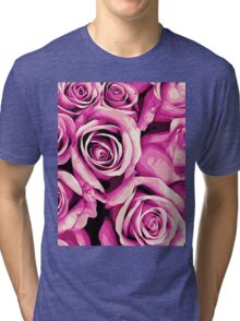 drawing and painting pink roses texture background Tri-blend T-Shirt