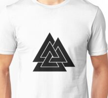 Norse Valknut - Black and White Unisex T-Shirt