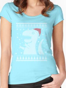 Christmas Dino Ugly Sweater T-Shirt Women's Fitted Scoop T-Shirt